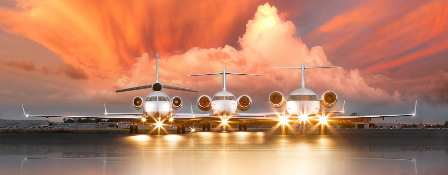privaira jets orange sky